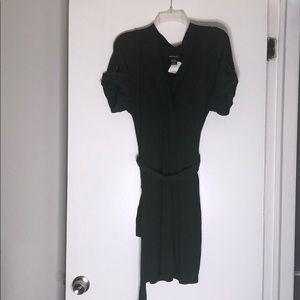 Wet Seal Green V Neck Belted Knit Dress x-large